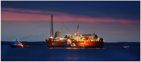 Evening view of the Searose FPSO