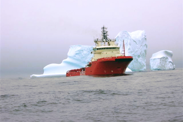 Atlantic Hawk moving icebergs and sea ice hazards