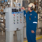 Employee monitoring equipment at the Lloydminster Asphalt Refinery