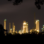 Lima Refinery illuminated in the distance at night