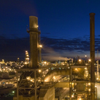 Lima Refinery illuminated at night